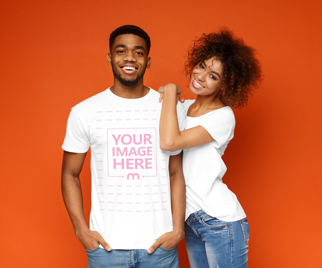 T-Shirt Mockup with Cuddling Couple preview image