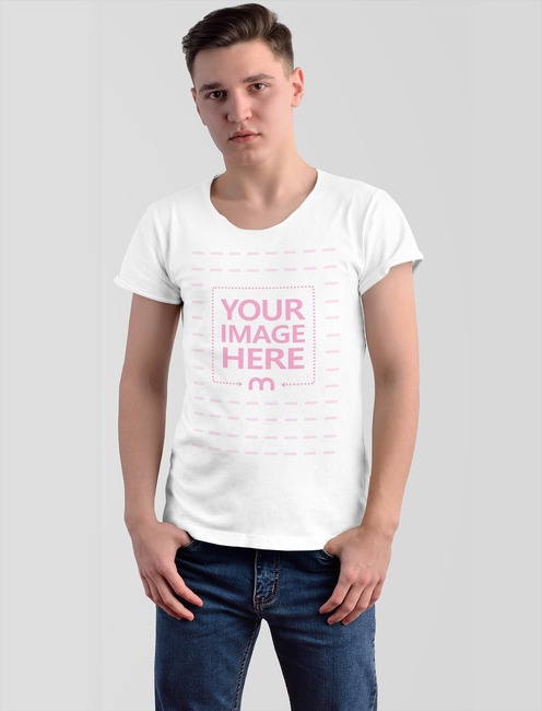T-Shirt Mockup With Young Model preview image