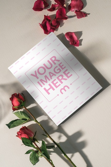 Lying Book with Roses Mockup preview image