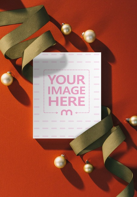 Book Cover with Christmas Decorations Mockup