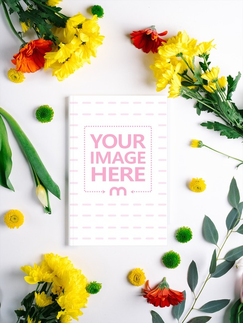 Floral Book Cover Mockup Template preview image