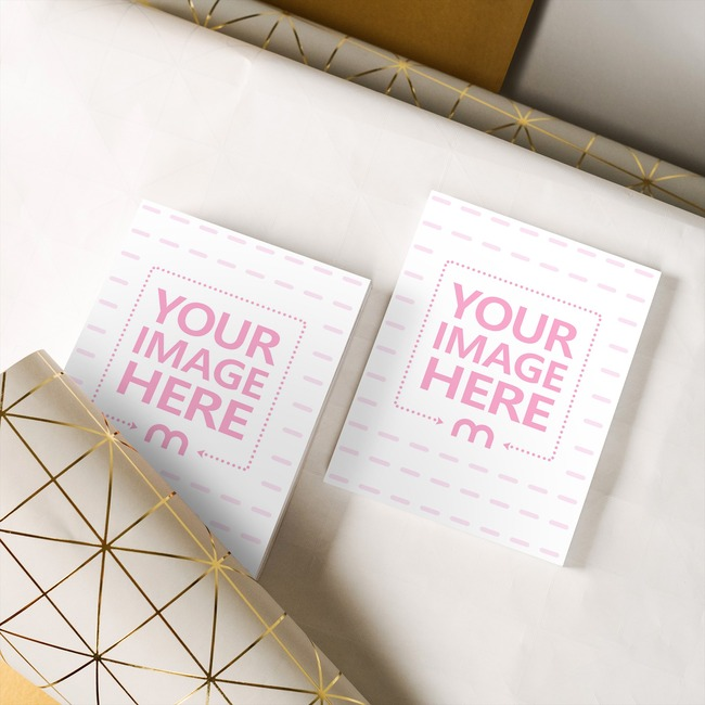 2 Books on Gift Wrapping Paper Mockup