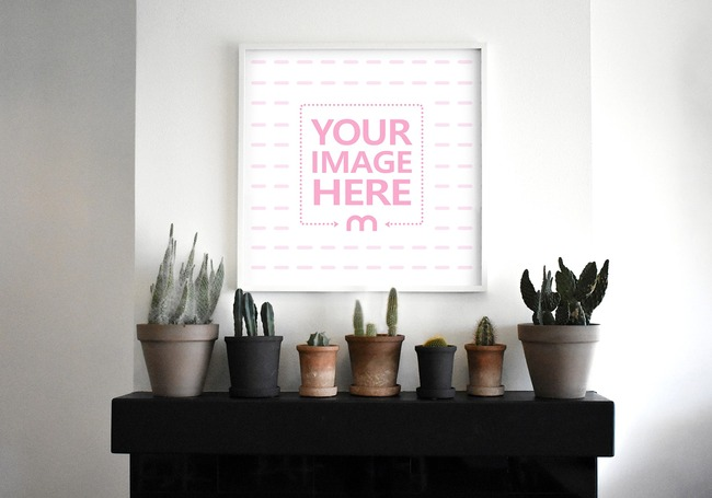 Square Picture Frame on Wall Mockup preview image