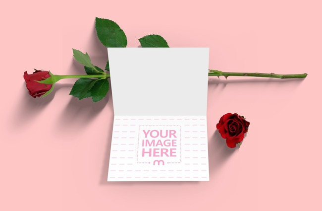Open Greeting Card with Rose Mockup preview image