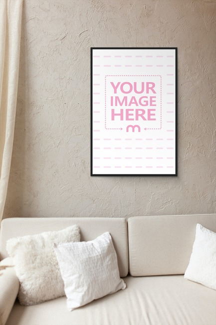 Picture Frame Hanging on Wall Mockup preview image