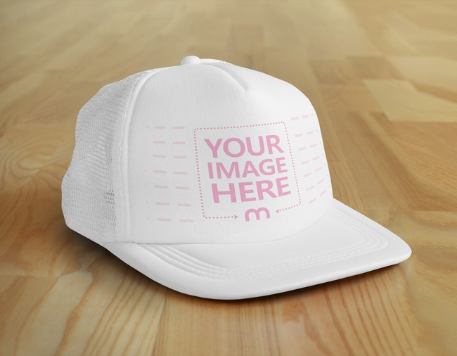 Cap Hat on Wood Background Mockup preview image