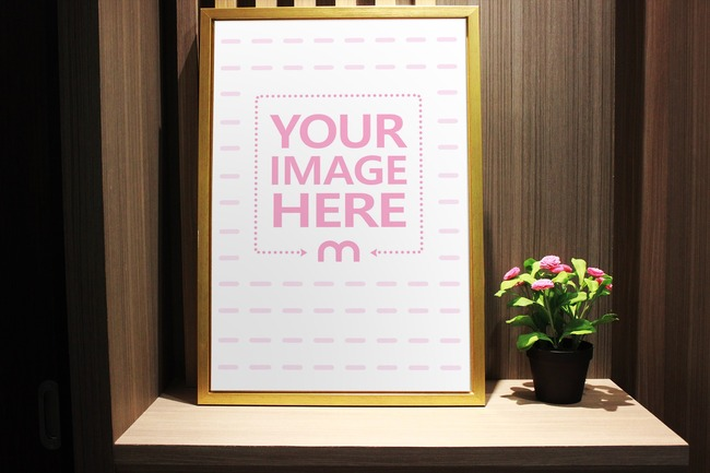 Vertical Picture Frame on Wall Mockup