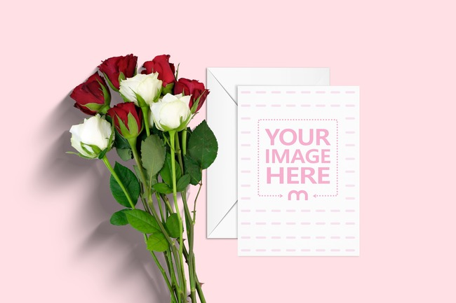 Greeting Card Mockup with Envelope and Roses preview image
