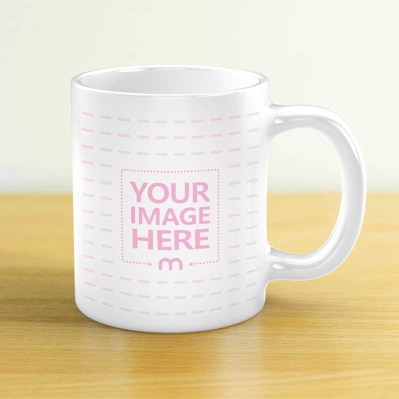 Ceramic Coffee Mug on Wood Table Mockup preview image