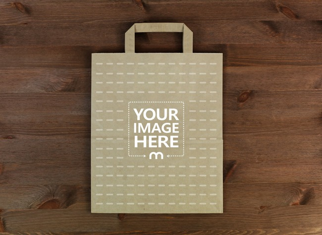 Brown Paper Bag on Wood Surface Mockup preview image