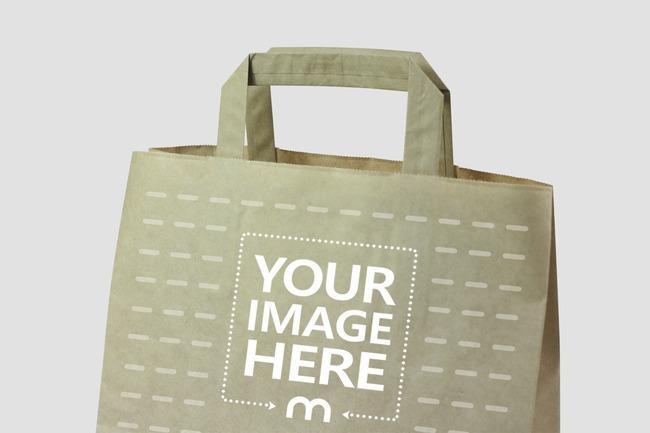 Closeup Brown Paper Bag Mockup