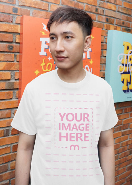Front View of a Shirt with Posing Young Man preview image