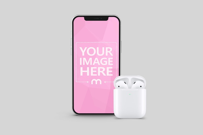 iPhone with Airpods Mockup Generator preview image