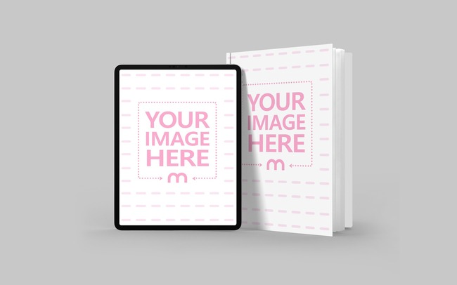 iPad and Hardcover Book Mockup