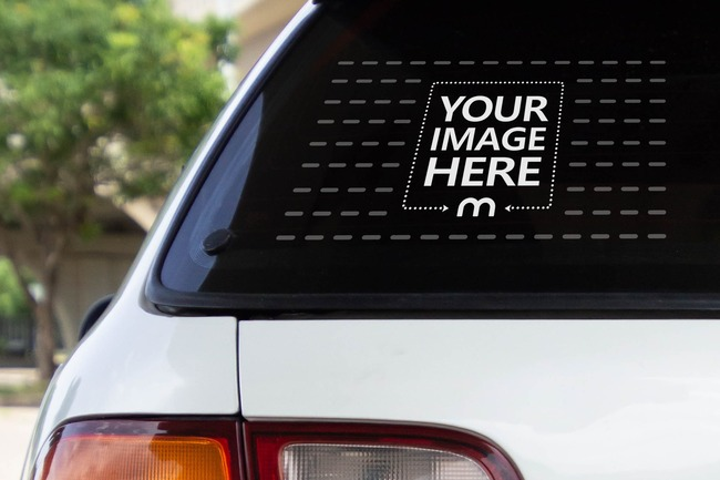 Car Rear Window Decal Sticker Mockup preview image