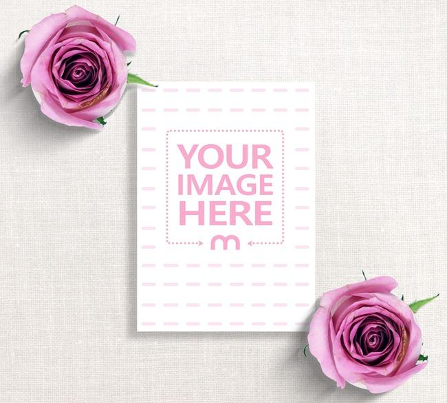 Floral Wedding Invitation Card Mockup preview image