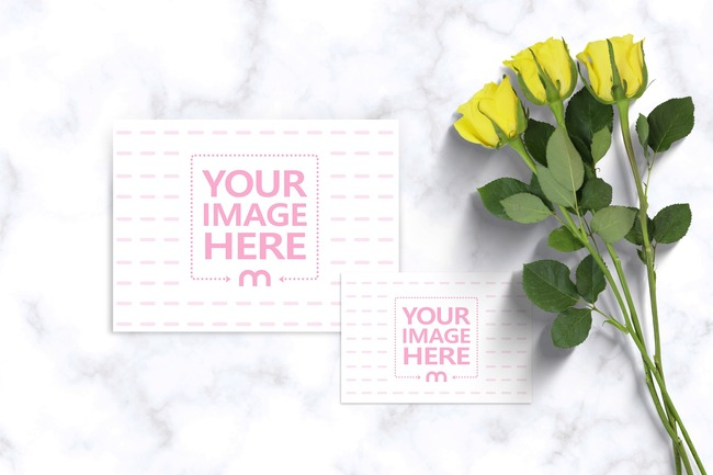 Greeting Card with Flowers Mockup