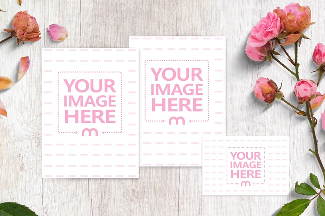 Vertical Wedding Invitation Cards Mockup preview image