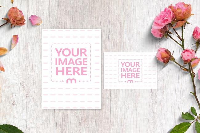 Wedding Invitation with Mini Card Mockup