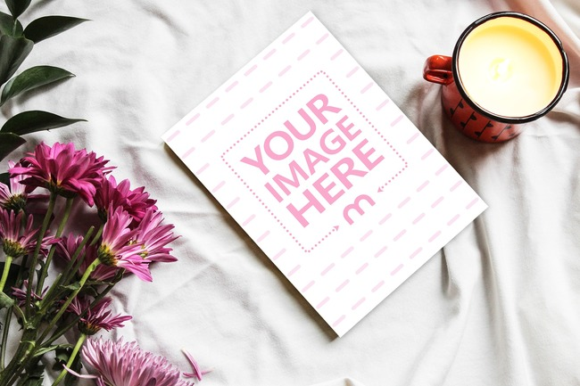 Greeting Card Lying on a Desk Mockup preview image
