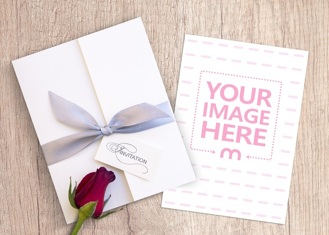 Wedding Invitation Card with Envelope Mockup preview image