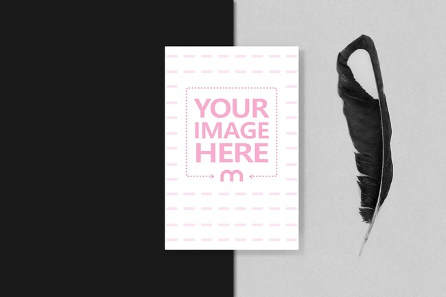 Greeting Card with Black Feather Mockup preview image