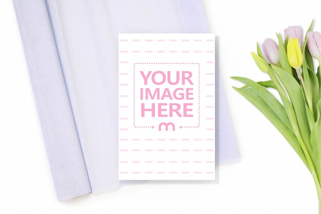 Postcard on Gift Wrapping Paper with Flowers