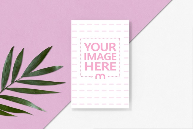 Book on Pink Background with a Leaf preview image
