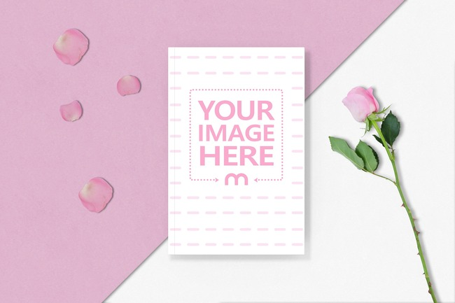 Book Cover Mockup with Roses preview image