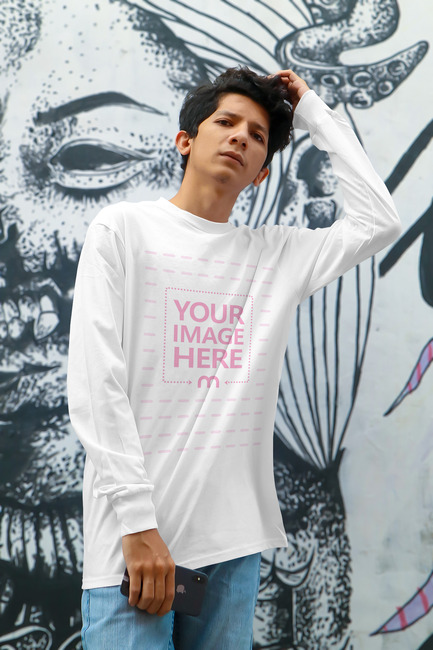 Shirt Mockup With a Man Posing for the Camera preview image