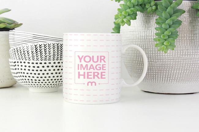 Coffee Mug Next to Pottery Mockup preview image