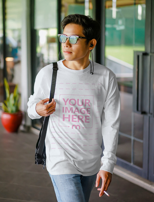 Shirt Template of Walking Young Man preview image