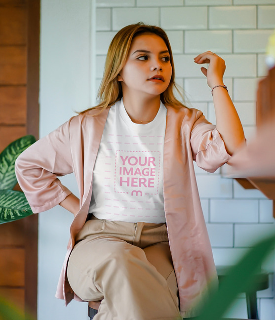Front View Shirt Featuring a Relaxing Young Woman preview image