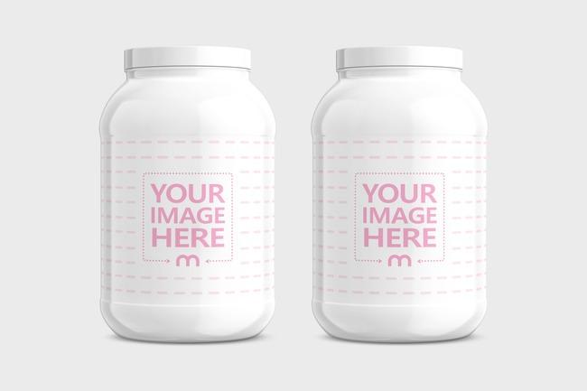 Double Protein Jar Mockup