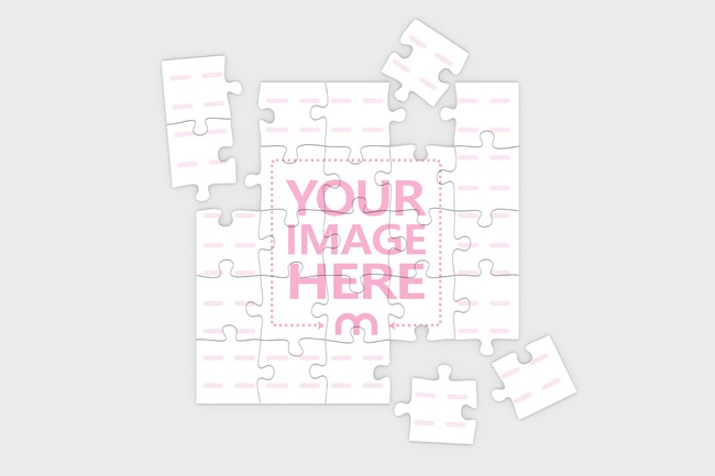 Top View Square Puzzle Mockup