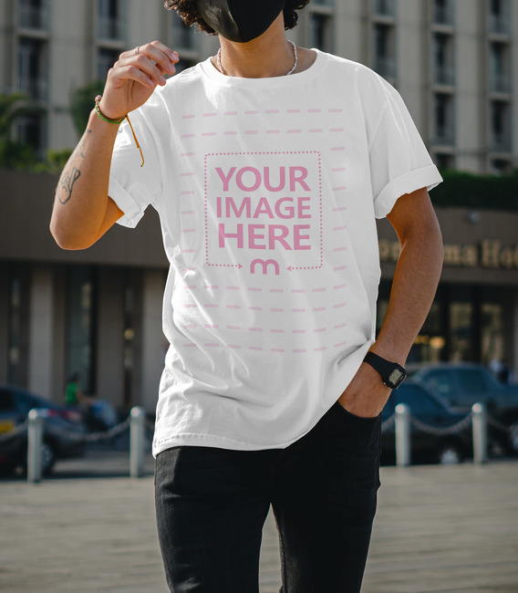Front Side Shirt Mockup with a Man Wearing a Face Mask preview image