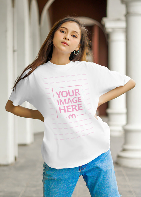 T-Shirt Mockup Featuring a Young Woman preview image