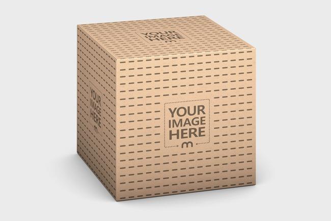 Kraft Square Box 75x75x75 Mockup preview image