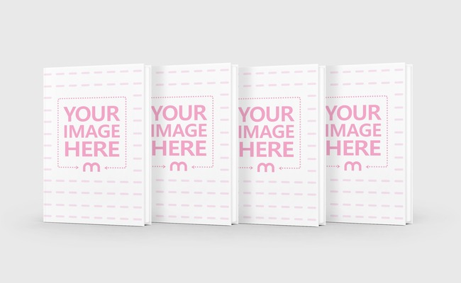 4 Books Standing in a Row Mockup