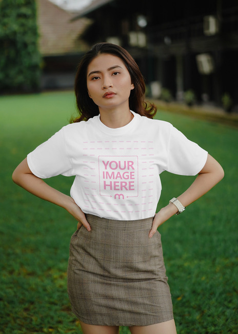 Shirt Mockup with Posing Young Woman preview image