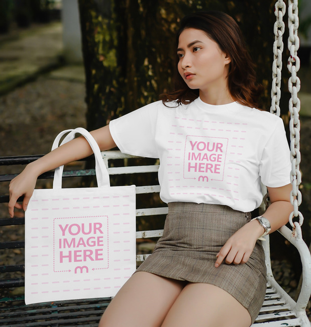 T-Shirt and Tote Bag Mockup Featuring a Sitting Woman preview image