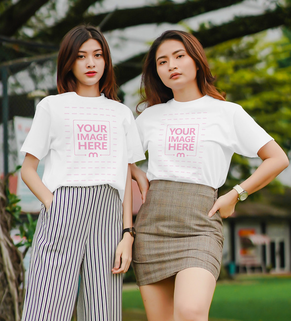 T-Shirt Mockup with 2 Posing Women preview image