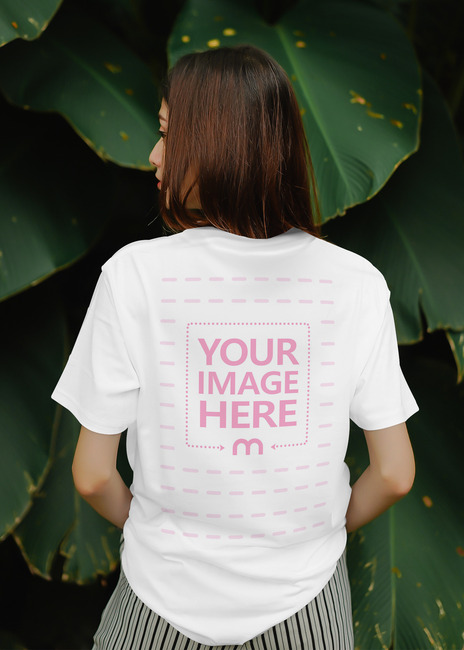 Back Side T-Shirt Mockup Template with Young Model preview image