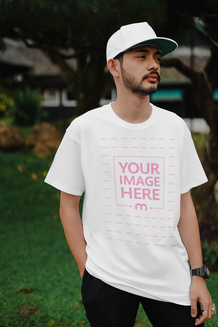 T-Shirt Mockup Template Featuring a Young Man preview image