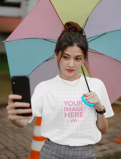 Shirt Mockup with Girl Taking a Selfie
