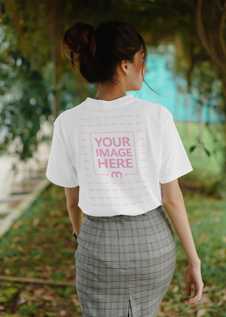 Back Side T-Shirt Mockup of a Young Lady preview image