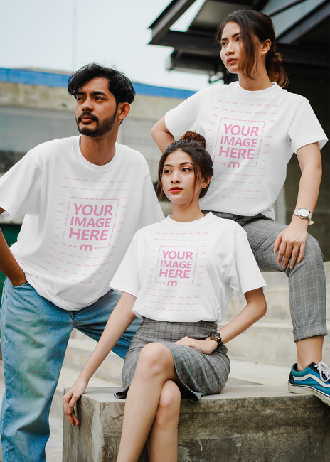 T-Shirt Mockup Featuring Three Models preview image