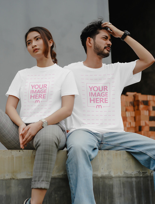 T-Shirt Mockup with Man and Woman Sitting preview image