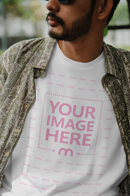 Shirt Mockup Featuring Close up Man With Glasses