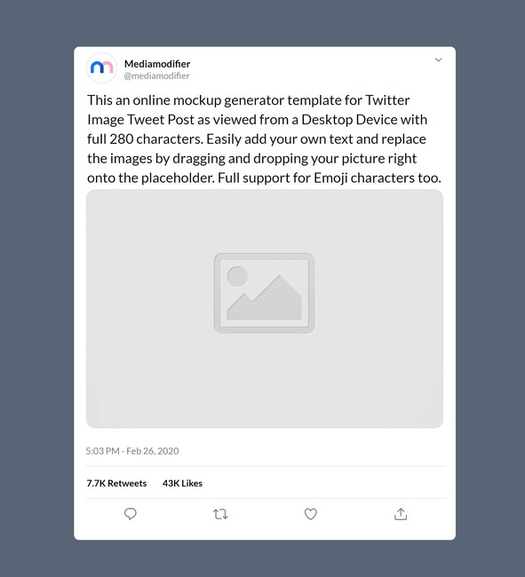 Twitter Single Image Post Mockup (280 Characters) preview image
